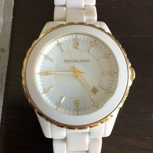 Michael Kors white and gold watch